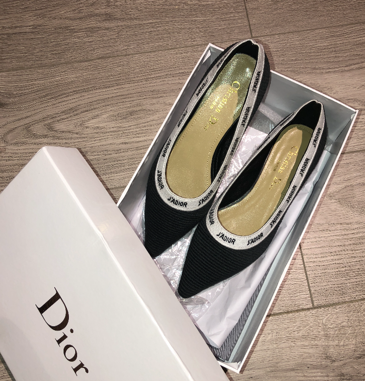 IN STOCK - 1:1 Christian Dior J'Adior black Embroidered Ballet Flat Size 38EU / 7- 7.5US