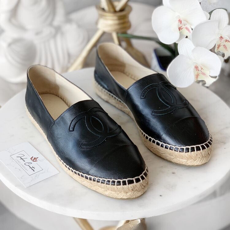 IN STOCK - CC Chanel Black Leather Espadrille Flat Loafer