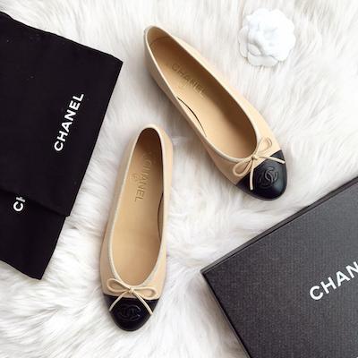 IN STOCK NOW: Chanel Ballerina Flats-  Nude/Black