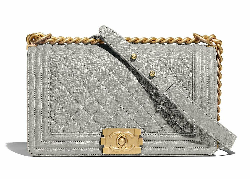 IN STOCK - 1:1 Chanel Le Boy bag - Grey Caviar / Old Medium 25cm