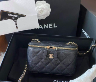 PRE ORDER 1:1 Chanel Small Vanity with Classic Chain Bag- Black Caviar