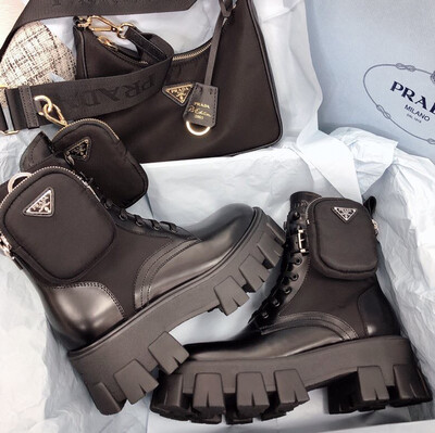 PRE ORDER 1:1 Prada Monolith Chunky Combat leather Boots - TALL Size 40 /8.5-9US