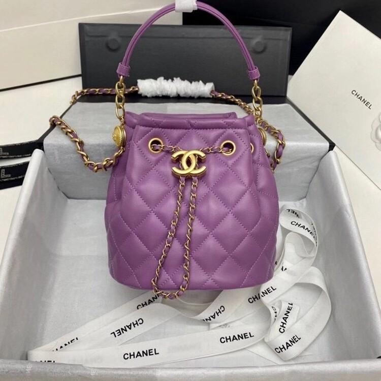 IN STOCK 1:1   Chanel Drawstring Sheepskin Bucket Bag AS2057 purple