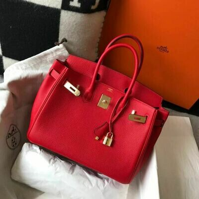 IN STOCK - Hermes Birkin 25cm Togo Leather -Red / Gold HW