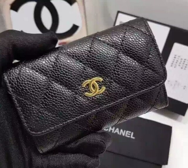 IN STOCK Chanel Card Holder Small Wallet Caviar Gold HW