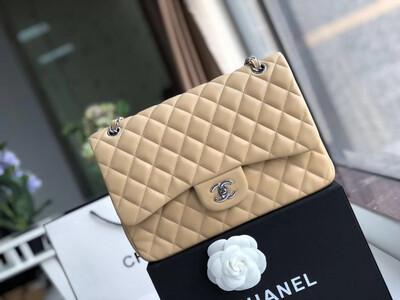 IN STOCK - 1:1 Chanel Classic JUMBO Double Flap Bag - NUDE Lambskin SILVER hardware