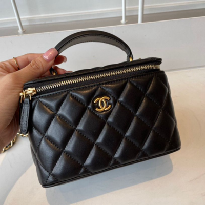 IN STOCK- NEW S21 1:1 Chanel Vanity with Chain Bag- Black  Lambskin Gold HW