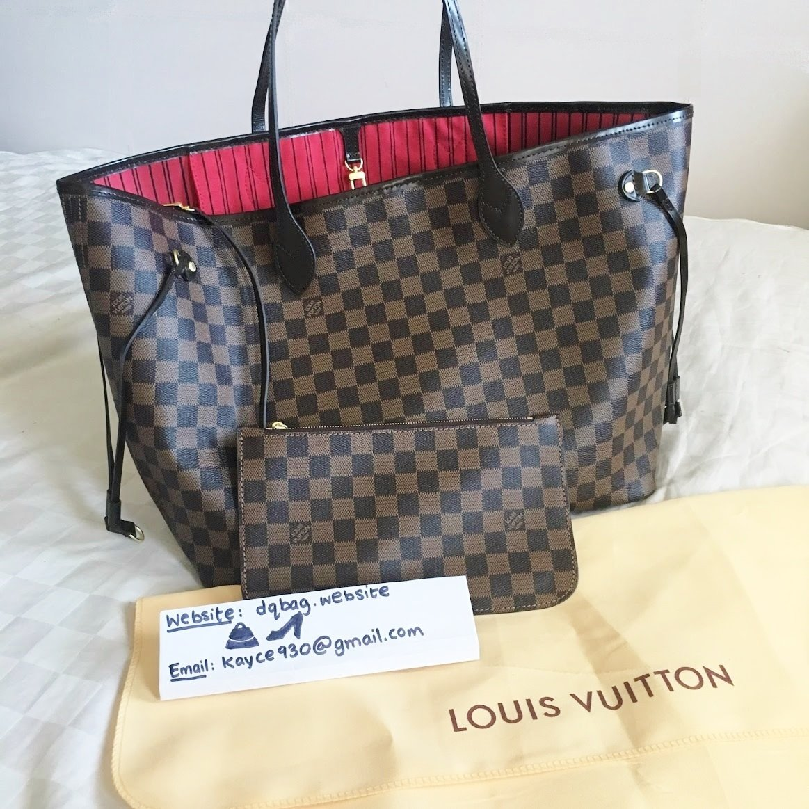 IN STOCK - 1:1 Louis Vuitton Damier Ebene Neverfull in MM with Pouch