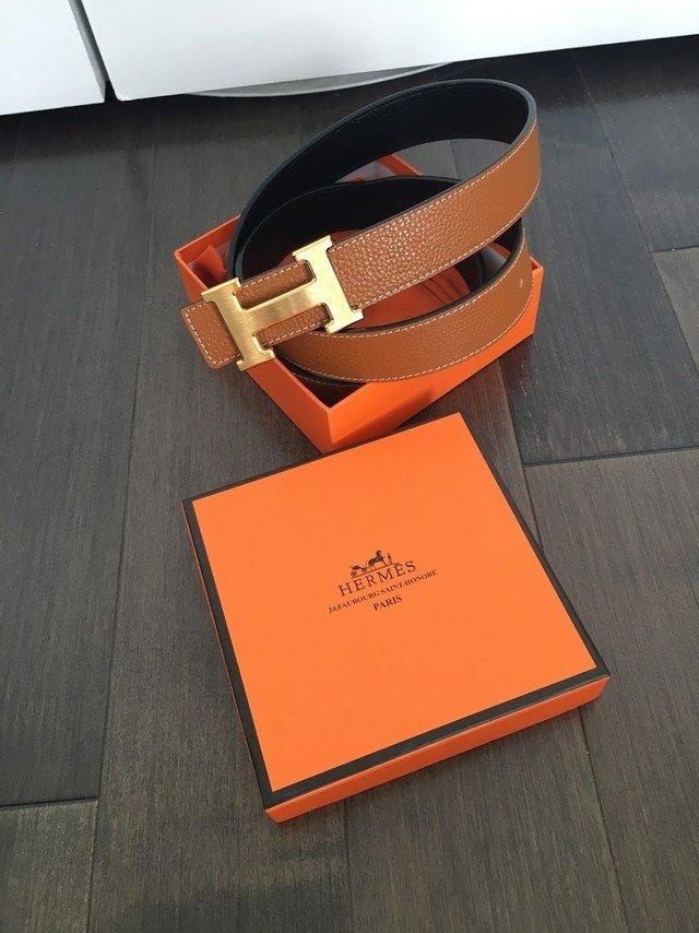 IN STOCK 1:1 Hermes H Belt -(UNISEX) Black/ Brown reversible Gold buckle 95cm