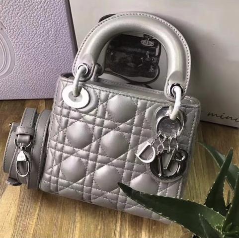 PRE ORDER 1:1 Christian Dior Lady Dior Bag Pearl Grey Silver Hardware- Mini size 17CM