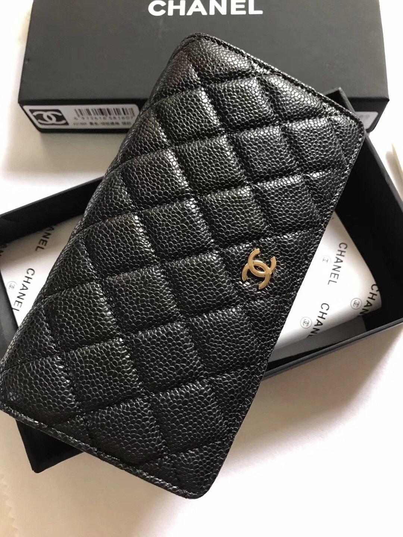 PRE ORDER- 1:1 Chanel Yen Wallet (Full size wallet) Caviar- Gold Hardware
