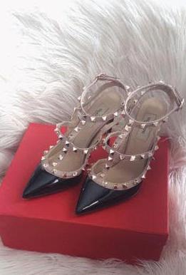 IN STOCK 1:1 Valentino Rockstud Heels 10cm - Black /Nude