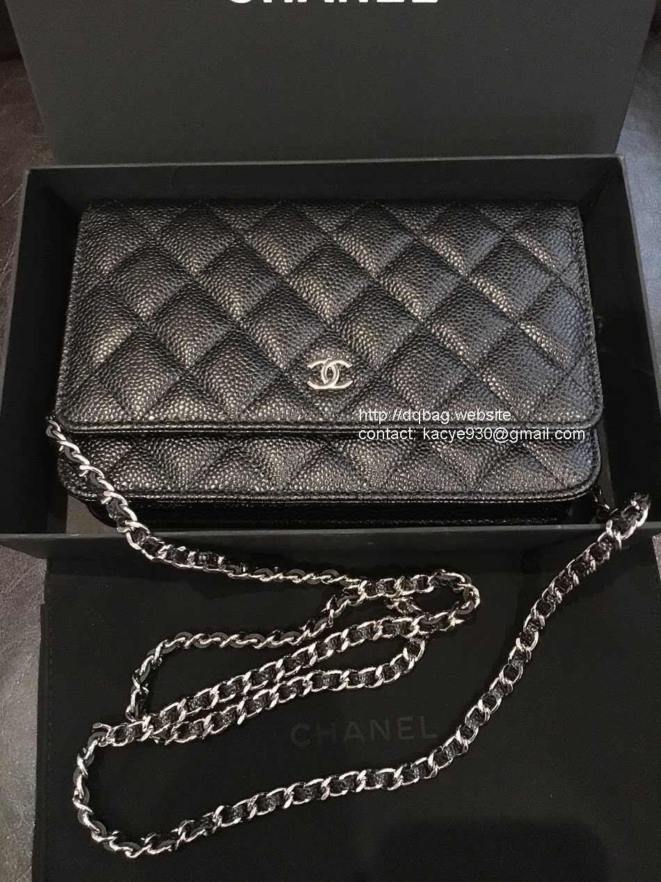 PRE ORDER 1:1 Chanel Classic Wallet On Chain WOC - Gold hardward caviar