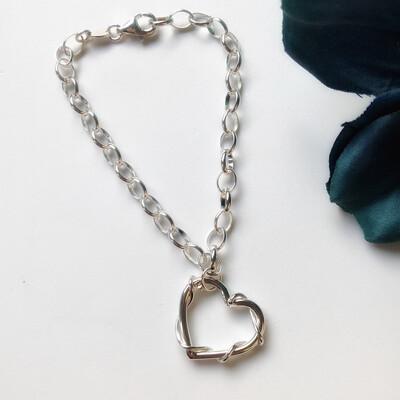Entwined Love Heart Charm Bracelet