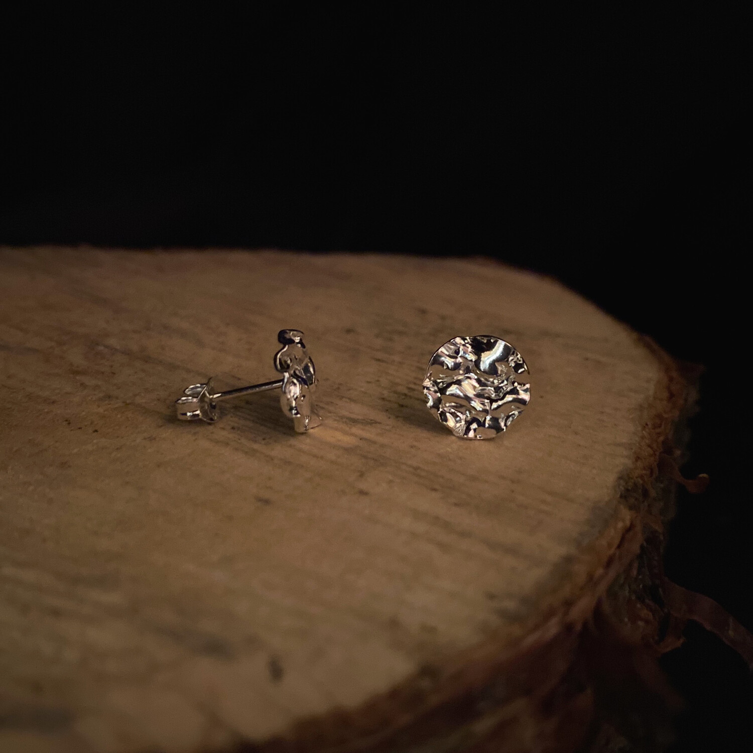 Reticulated Silver Stud Earrings