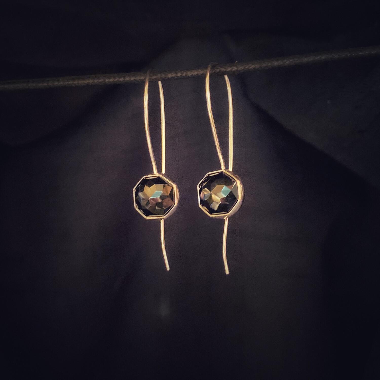 Black Spinel Long Drop Hook Earrings