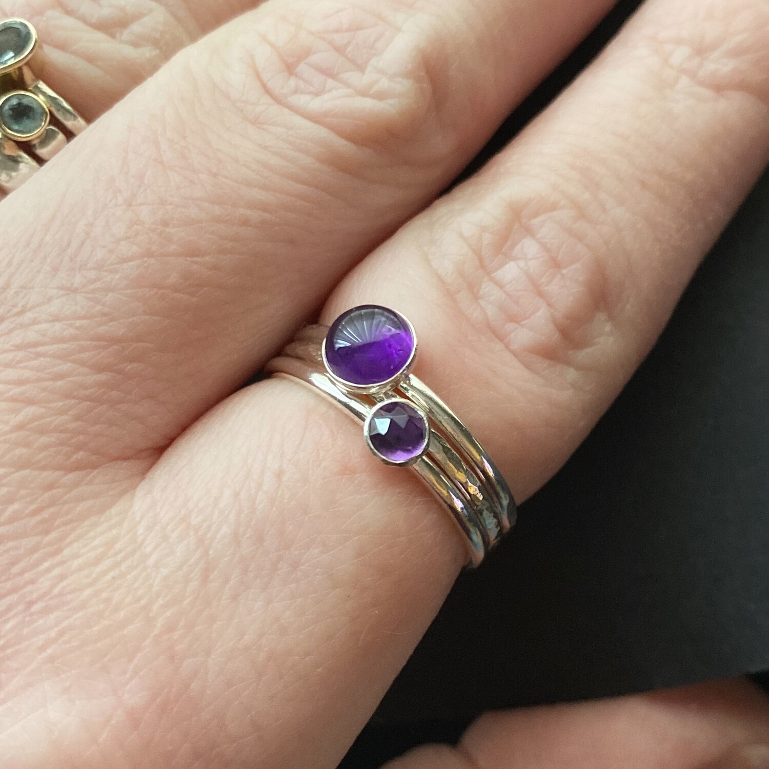 Amethyst Halo Stacking Ring