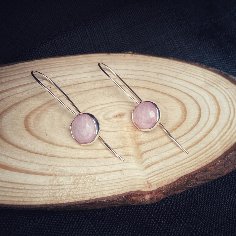 Long Drop Pink Kunzite Earrings