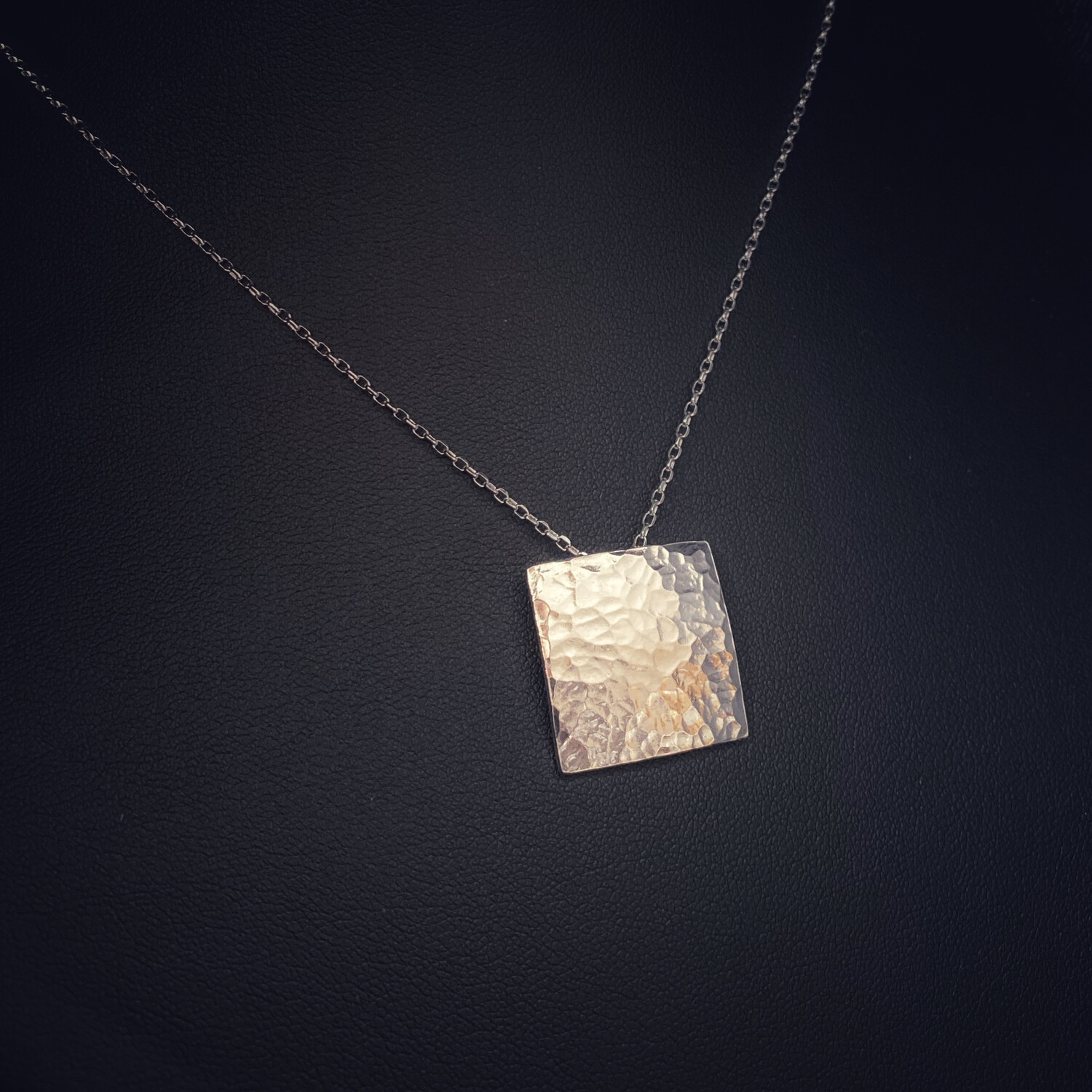 Heavy Hammered Square Pendant