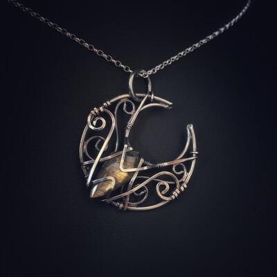 Labradorite Wire Wrap Moon Pendant