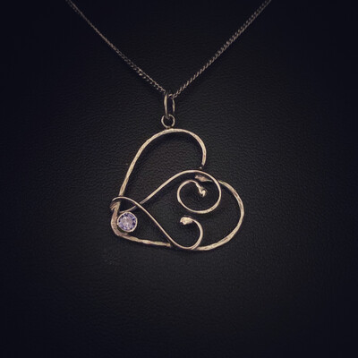 Tanzanite Gem Wire Heart Pendant
