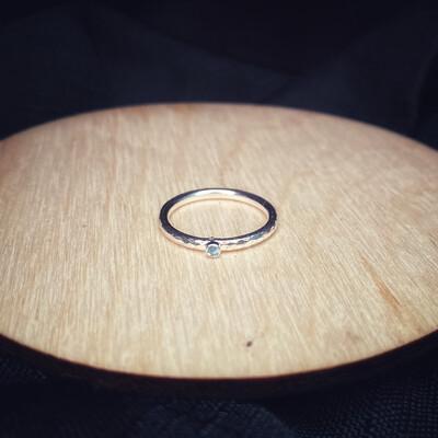 Blue Aquamarine Halo Band Ring