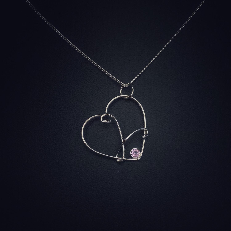 Amethyst Gem Wire Heart Pendant