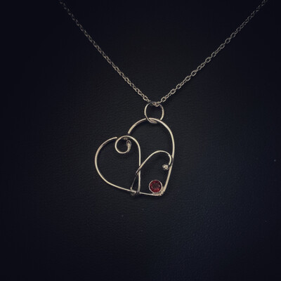 Garnet Gem Wire Heart Pendant
