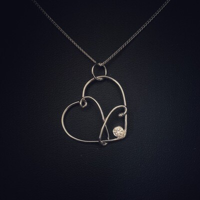 Clear Gem Wire Heart Pendant