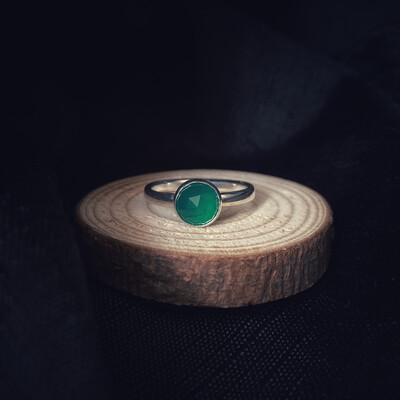 Green Onyx Halo Stacking Ring
