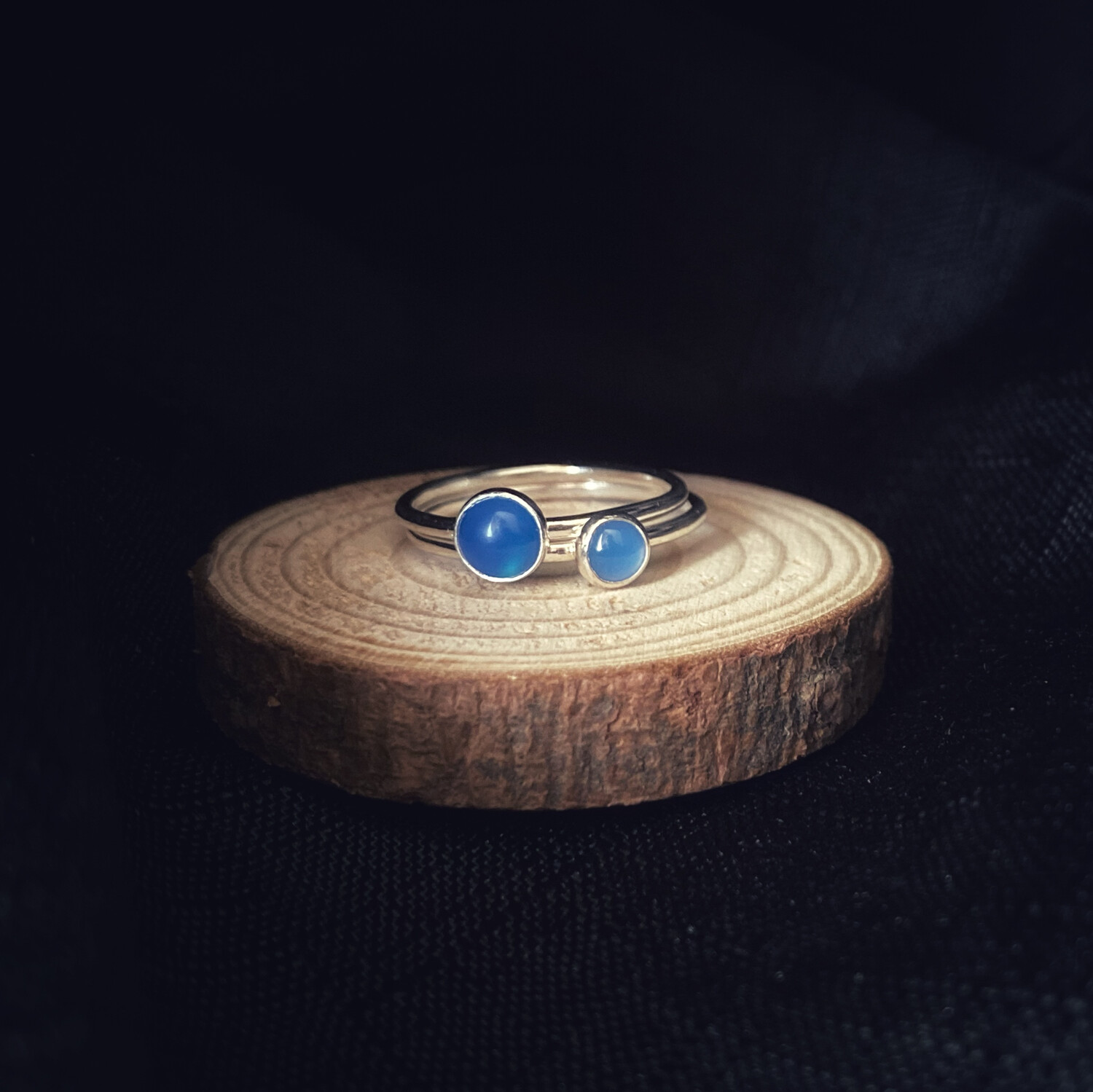 Blue Onyx Halo Stacking Ring