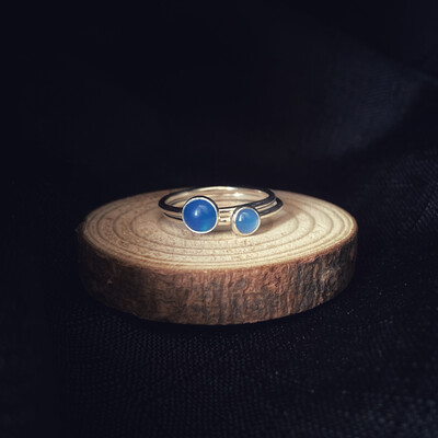 Blue Onyx Halo Stacking Ring