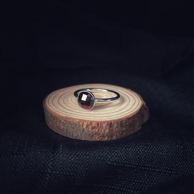 Garnet Halo Stacking Ring