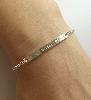 Silver Bar Bracelet - personalised