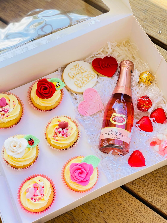 Valentine's Day Ultimate Wine, Cookie & Cupcake Gift Box