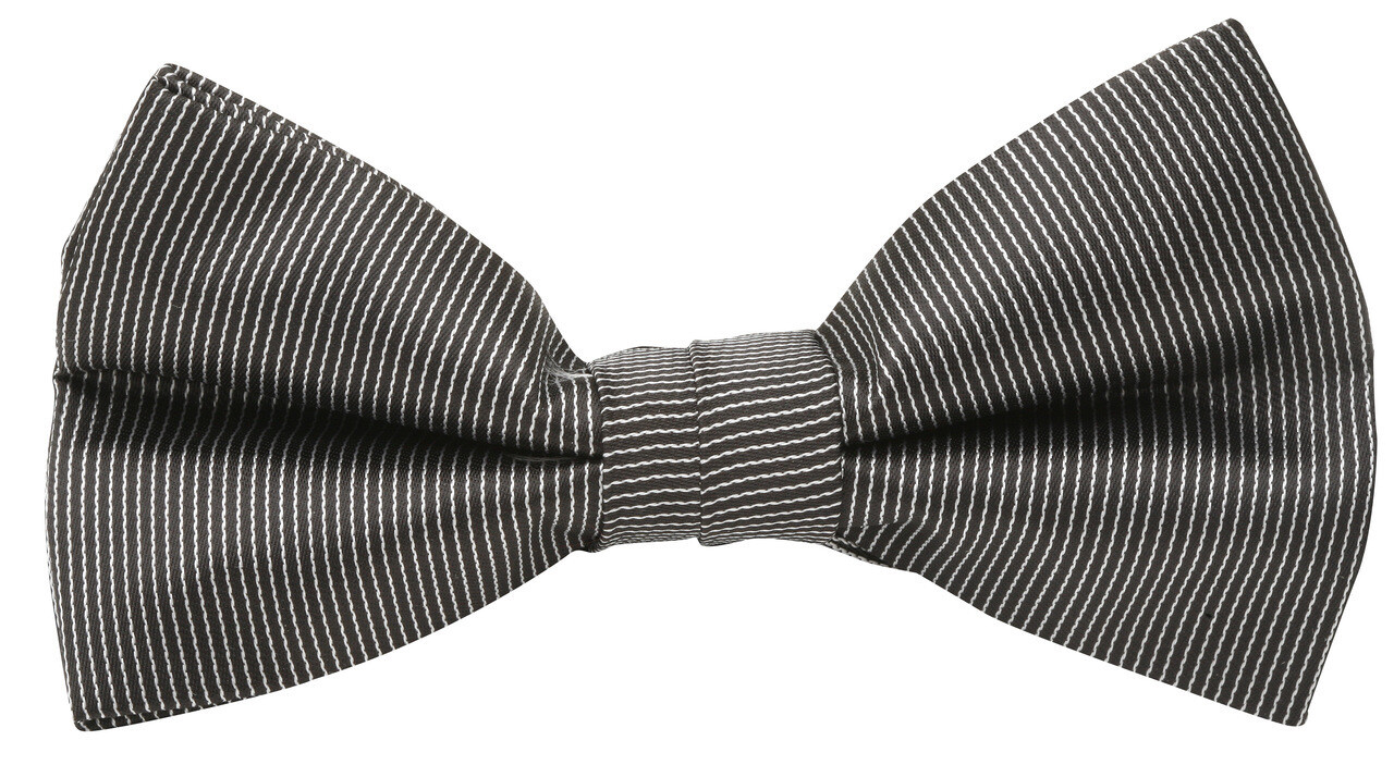 Bow Tie, Pinstripe, Black