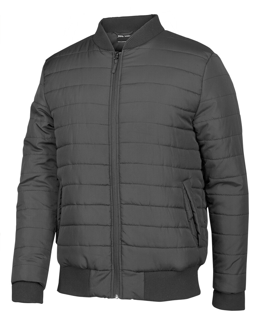 Puffer Bomber Jacket Charcoal