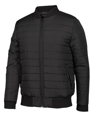 Puffer Bomber Jacket Black