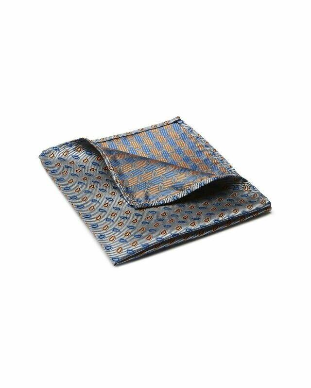 Pocket Square, Paisley, Grey