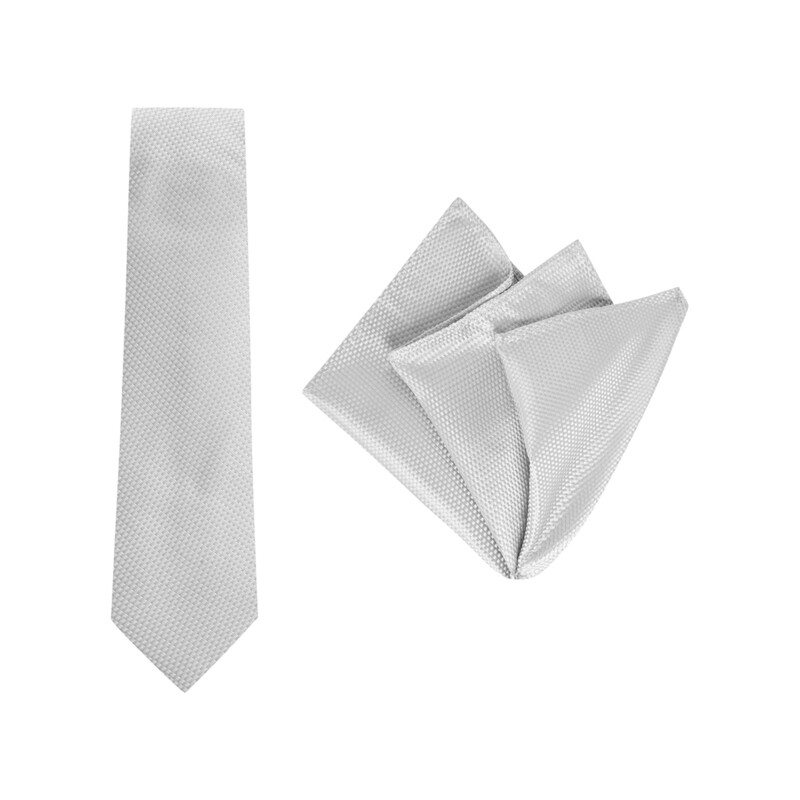 Tie + Pocket Square Set, Carbon, Silver