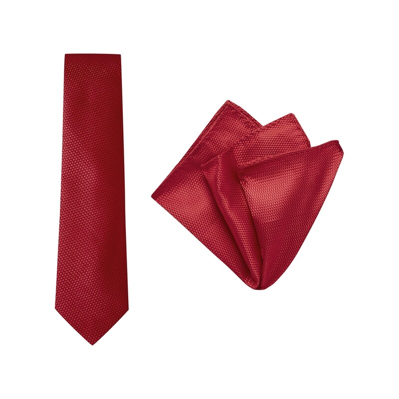 Tie + Pocket Square Set, Carbon, Red
