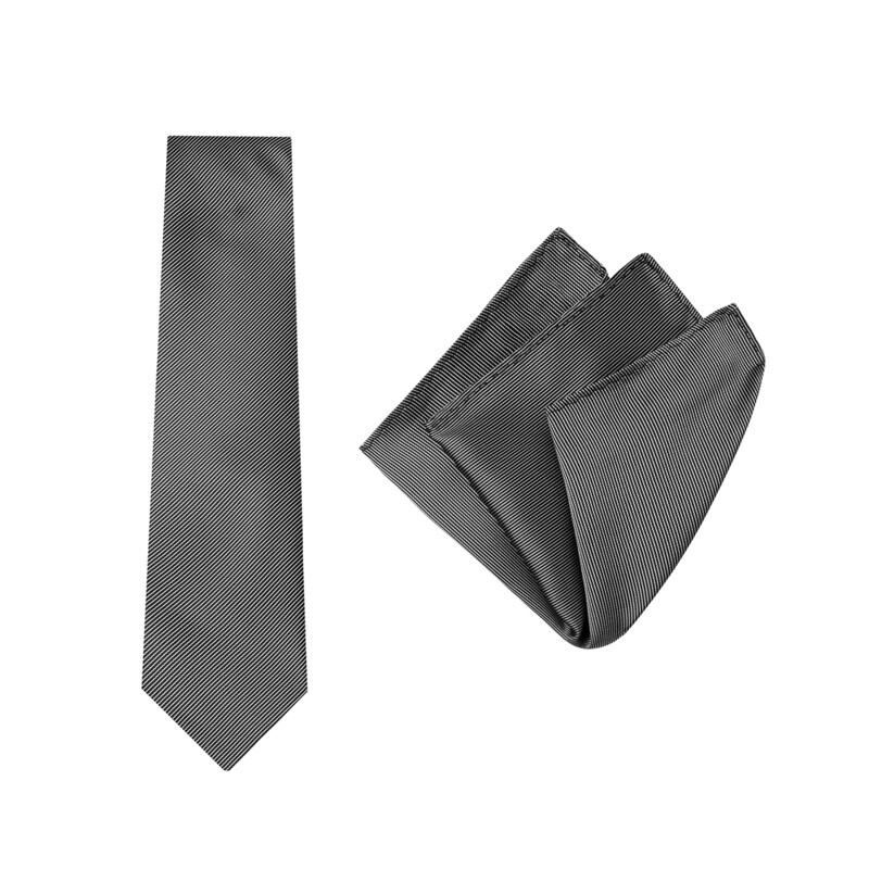 Tie + Pocket Square Set, Pinstripe, Black