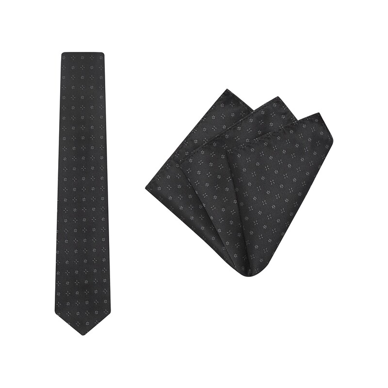 Tie + Pocket Square Set, Bloom, Black