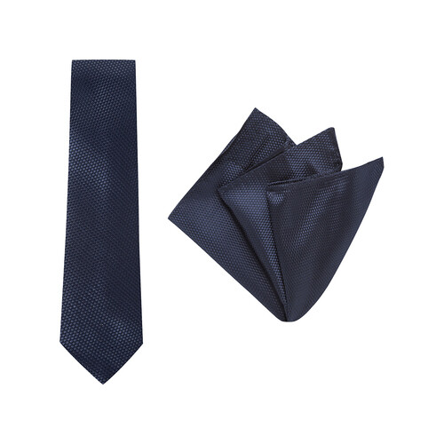 Tie + Pocket Square Set, Carbon, Navy