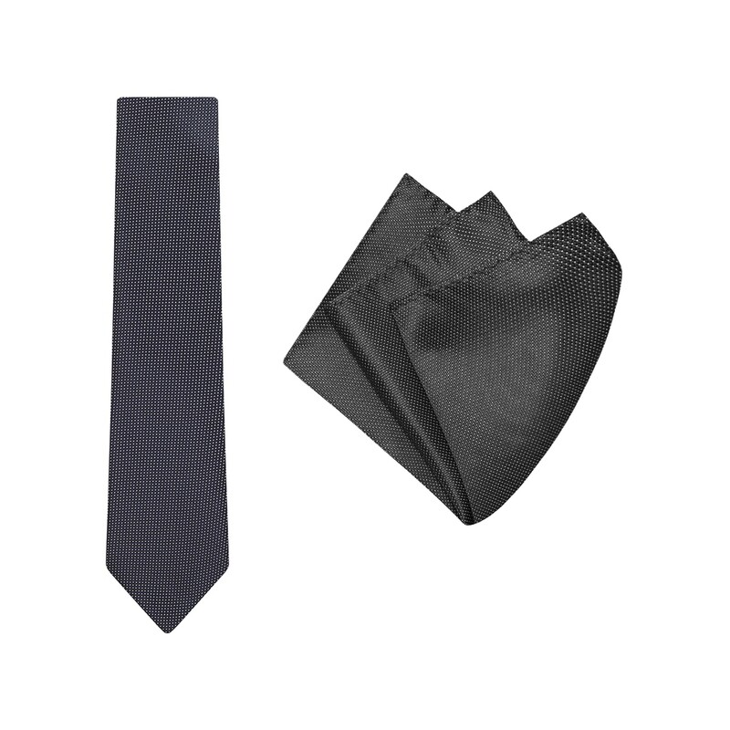 Tie + Pocket Square Set, Micro Spot, Black