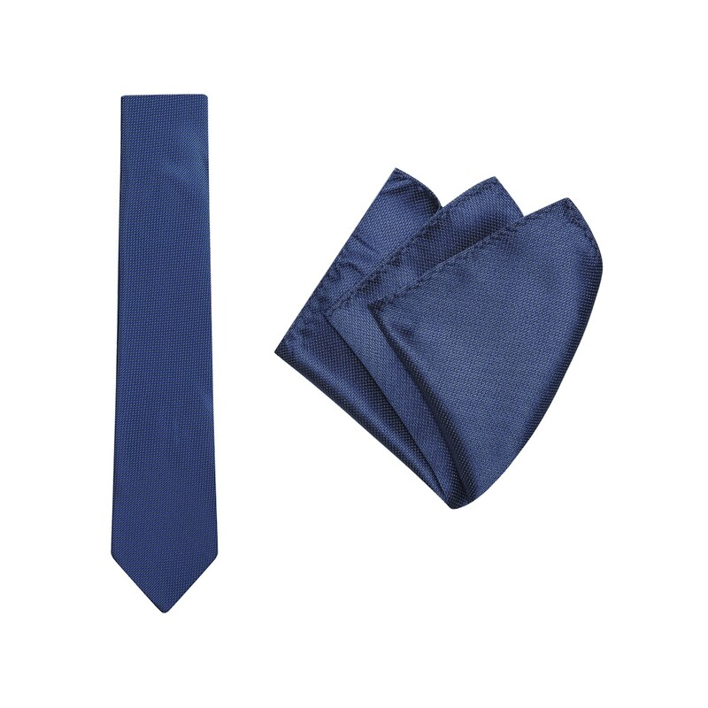 Tie + Pocket Square Set, Micro Spot, Blue