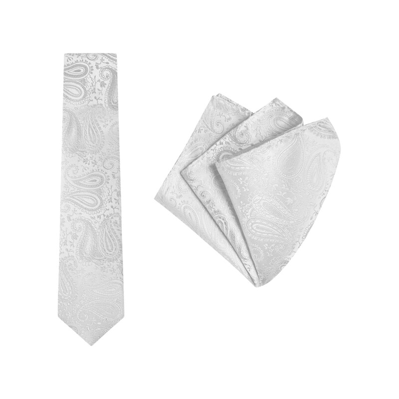 Tie + Pocket Square Set, Paisley, Silver