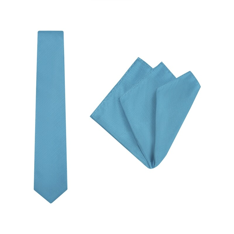 Tie + Pocket Square Set, Plain, Aqua