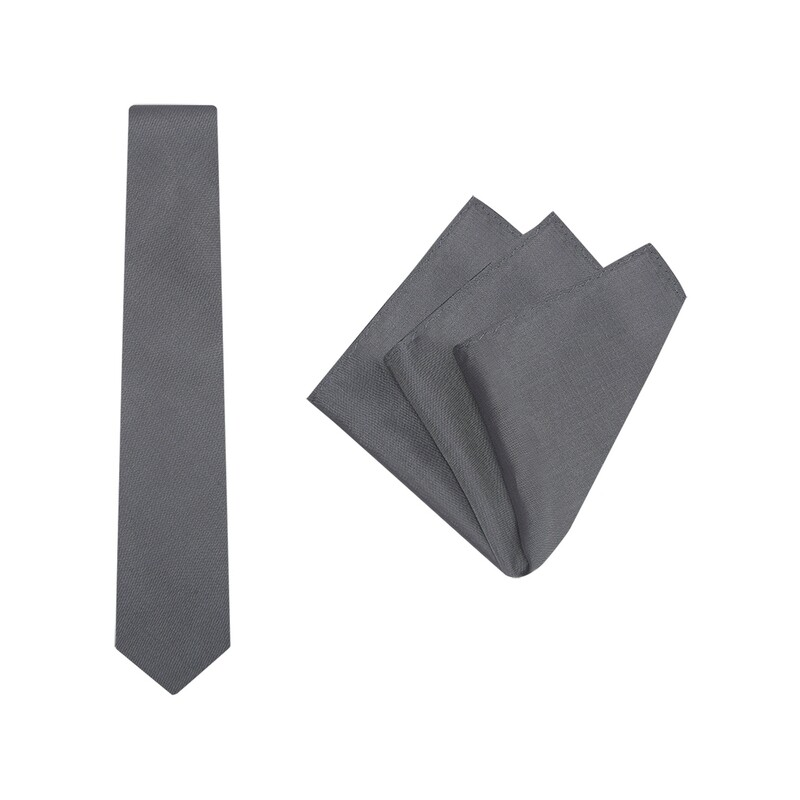 Tie + Pocket Square Set, Plain, Grey