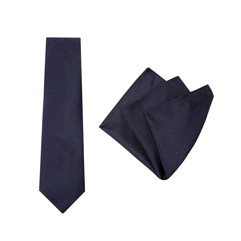 Tie + Pocket Square Set, Plain, Midnight